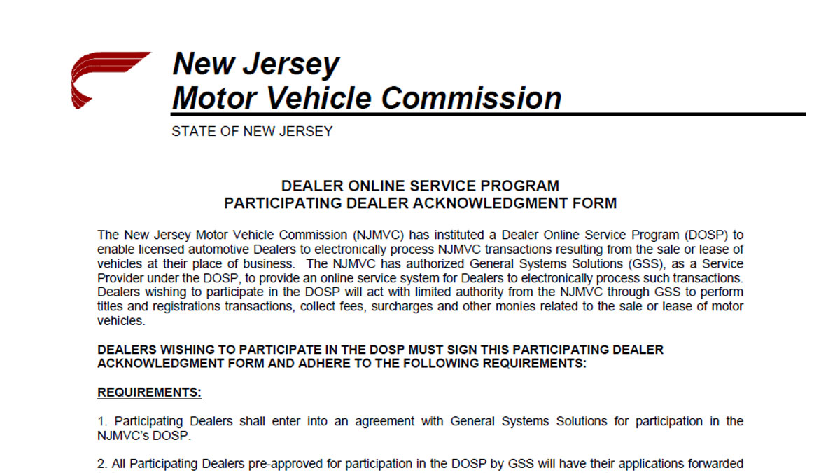 nj division of motor vehicles forms