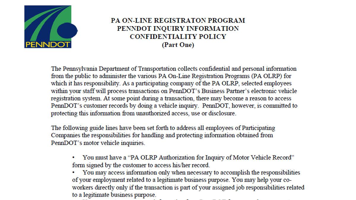 Dealertrack: Pennsylvania Online Registration System (PA-OLRS)